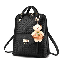Buy New Fashion Small Pu Leather Knitting Backpack Women School Book Bags Teenager Girls Black Back Pack Rivet Shoulder Bag for $20.29 in AliExpress store