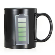 Fashion Magic Mug Battery Coffee Heat Hot Cold Temperature Sensitive Reactive Coffee Cup Christmas Gift