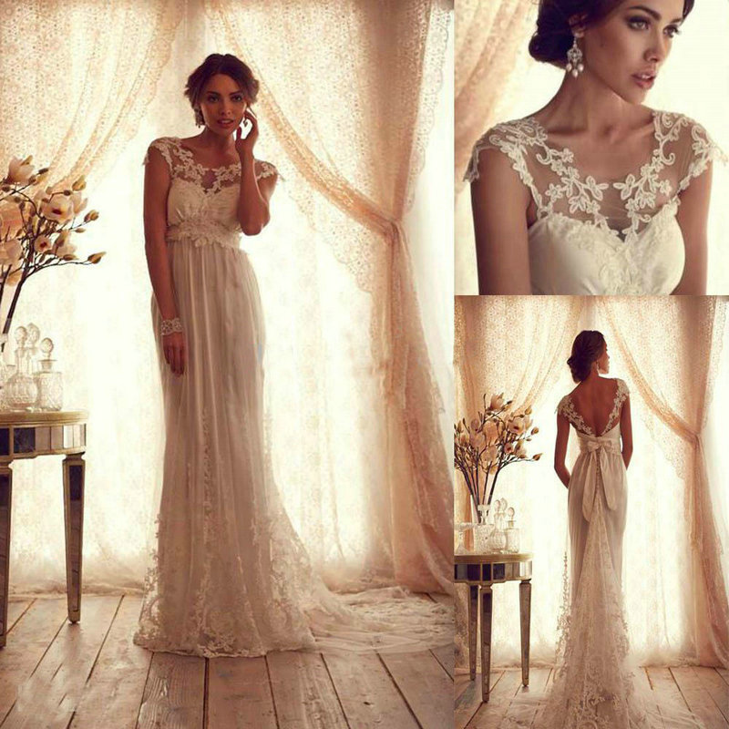 New style 2014 vintage sexy lace appliques beach wedding for Vintage backless wedding dresses