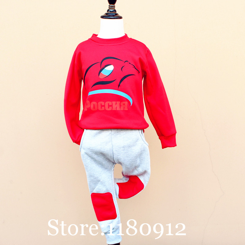 Olike Brand Winter Baby Boys Clothes Rugby Football/Red Square Children's Tracksuit Sports Kids Clothes Set Children Clothing(China (Mainland))