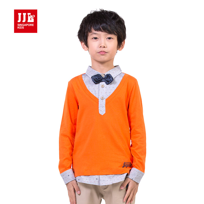 jjlkids boys news spring t-shirts v-neck False two pieces clothing school uniform pullover boys tops<br><br>Aliexpress
