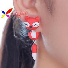 16designs animal earrings 2015 hot fashion lovely cute handmade polymer clay cat pierced ear stud for women brincos feminino(China (Mainland))