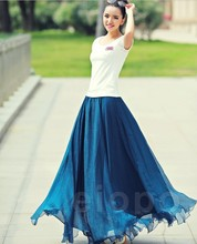 Free shipping!2013 summer new 8 m put on a large gold chiffon dress was thin plus size dress 14 color and more size(China (Mainland))