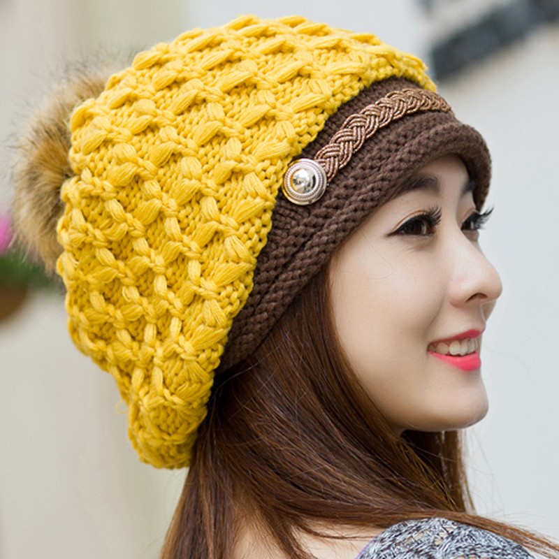 Winter Fashion Women's Warm Thick Patchwork Knitted Fur Hats Skullies , Ladies Casual Beanies Fleece Yellow White Hats For Woman(China (Mainland))