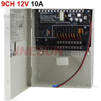 9CH DC 12V 10A Output Power Supply Switch Box For CCTV Camera With Fuse