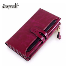 Buy AEQUEEN Genuine Leather Wallets Women Wallet Cowhide Coin Purse Lady Long Purses Button Pouch Girls Credit Card Holders Clutches for $18.19 in AliExpress store