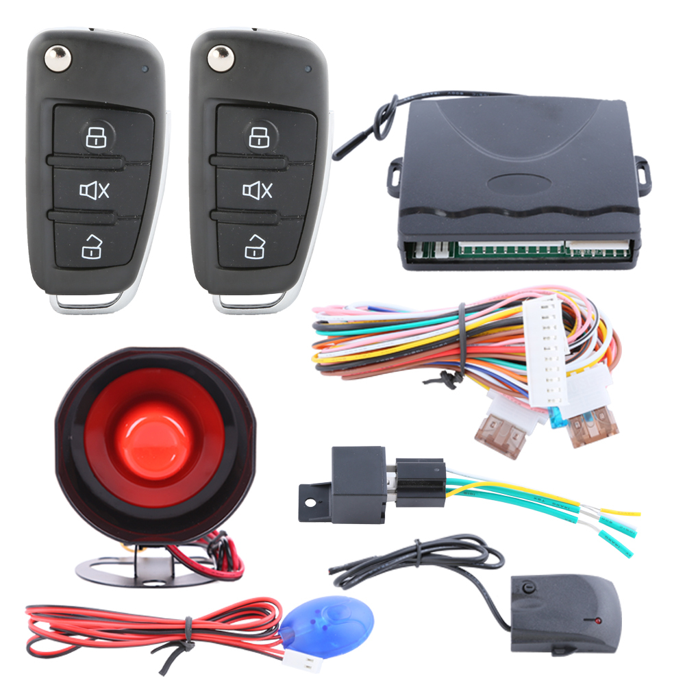 Quality universal car alarm system 1 way with flip key remote control central door locking keyless entry anti theft(China (Mainland))