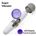 Super Powerful LCD Display Touch AV Stick Vibrators Rechargeable Magic Wand Vibrator Massager For Women Toys