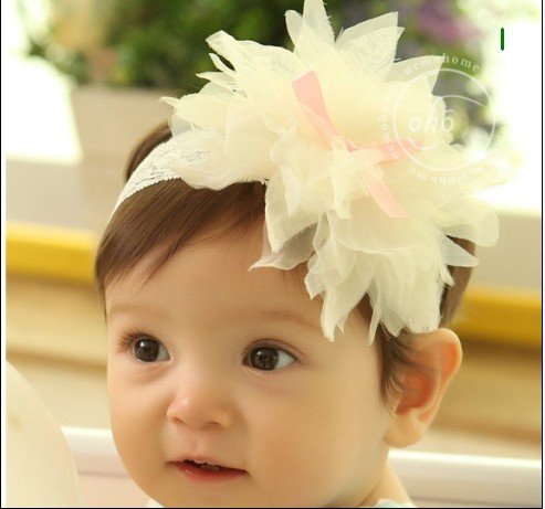 New Flower chiffon Baby Hairbands,Girls lace Headband,Infant Hairband ,Baby Hair Accessories A056(China (Mainland))