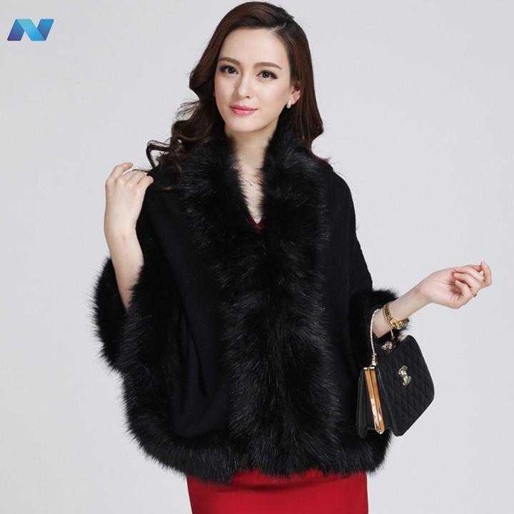 Women Loose Luxury Shawl Cloak Cardigan Sweater Wrap Cape Faux Fur Cloak Coat Jacket(China (Mainland))