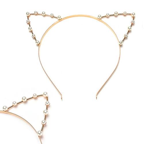 IMC SODIAL(R) Cat Ear Headband Pearl Shape Rhinestone Hair Band Headwear-Highlight in the party for Women(China (Mainland))
