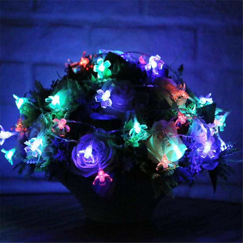 5M/20leds Colorful Modeling LED String peach Cherry Flowers Flash Christmas Lights Garlands for Holiday Party Wedding Decoration(China (Mainland))
