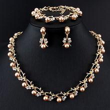 מכירה לוהטת חיקוי פרל כלה שרשרת עגילי צמיד סט תכשיטי כלה סט זהב צבע נשים של ללבוש אלגנטי מפלגה מתנות(China)