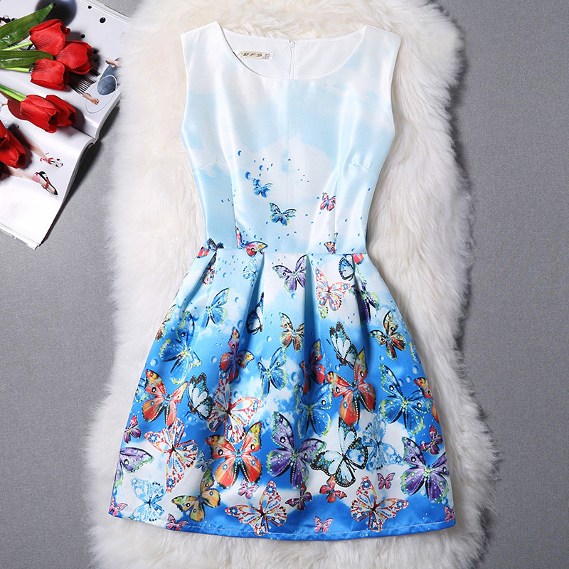 2016 Dresses For Girls Chiffon Dress Butterfly Printed Dress Sleeveless Organza Teenagers Voile Designer Dress Party 10-20Y(China (Mainland))