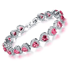 Blue/White/Red Cubic Zircon Woman Survival Bracelet Classical Heart Design Platinum Plated Women Link Chain Wedding Jewelry (China (Mainland))