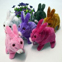 Electric Light Emitting Bunny Rabbit Will Jump Simulation Plush Toy Rabbit(China (Mainland))