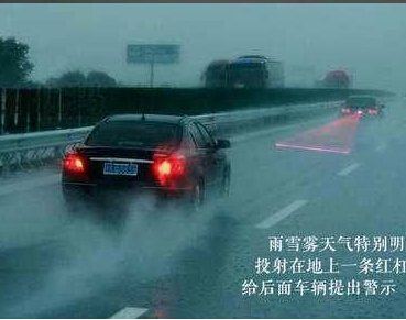 Car Rainproof Anti Fog Anti Collision Laser Warning Light Laser Anti Rear Fog Lamp Auto vehicle
