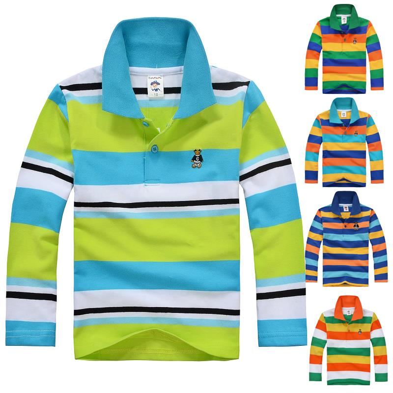 High Quality Kids Boy Girl T-shirts Long Sleeve Cotton Shirts For Baby Toddler Big Spring Autumn Striped Children Clothing(China (Mainland))