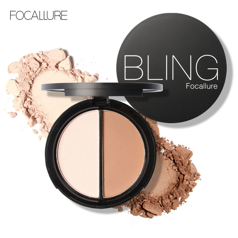 FOCALLURE Highlight Bronzing Dou Powder Palette Highlighter and Bronzer Face Powder Velvet Whitening Texture in a Palette(China (Mainland))