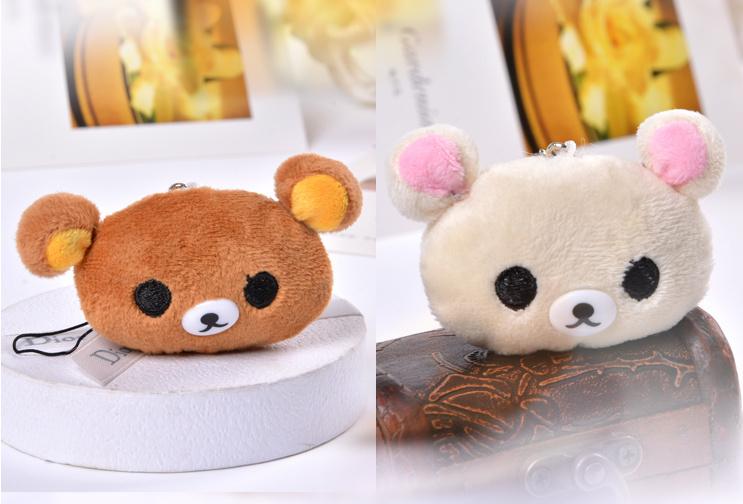 Kawaii Rilakkuma Bear Plush 2Colors Choice - 3cm Stuffed plush Toy Doll ; gift key chain toys , soft toys for bouquet(China (Mainland))