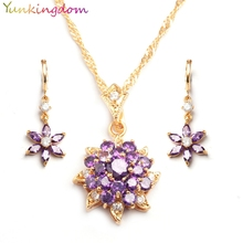 Yunkingdm Studded Amethyst jewelry sets grand wedding party earrings necklaces for women CZ diamond jewelry BB0006(China (Mainland))