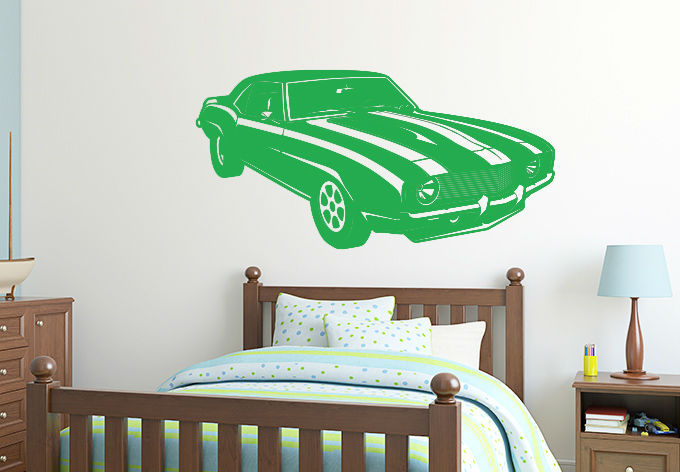 Retro Car Camaro Decal DIY Removable Retro Muscle Car Art Wall Sticker Mural 3D Design House Decoration For Living Room/Bedroom(China (Mainland))