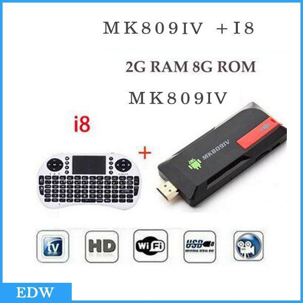 Android TV Stick Quad Core MK809IV MK809 IV + Wireless RK3188 i8 teclado 2G/8GB Bluetooth Mini PC MK809 IV actualiza 2pcs a set(China (Mainland))
