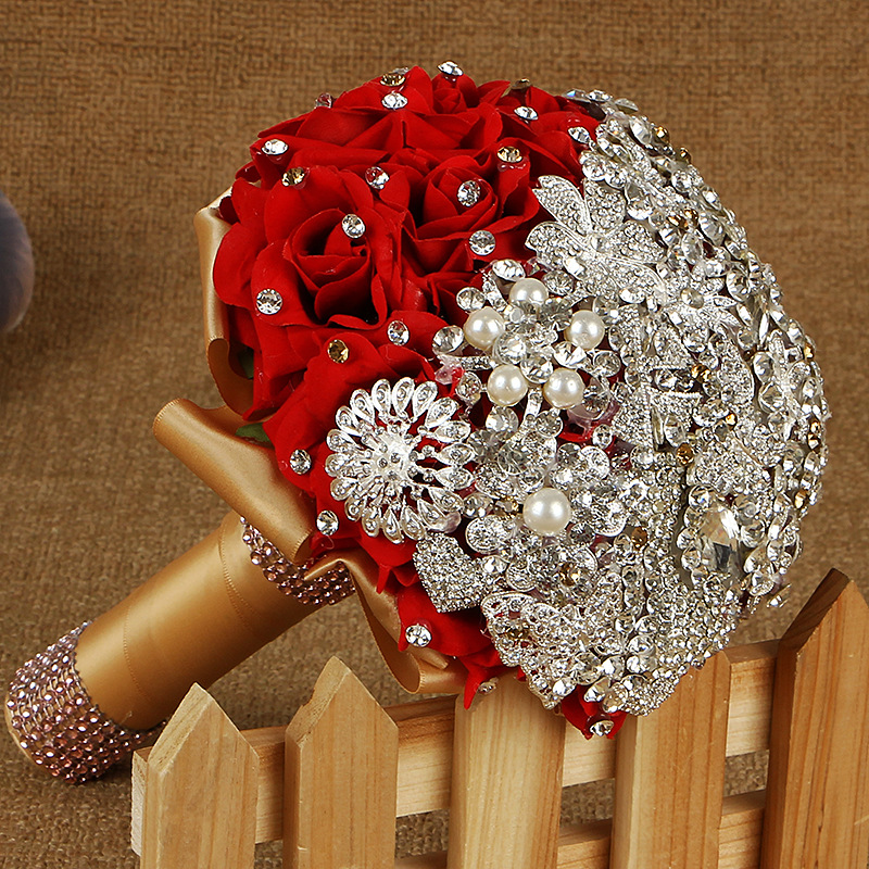 Handmade Luxurious Bridal Romantic Ribbon Wedding Bouquets Artificial Rose Wedding Flower Pearl Crystal Brooch Bouquets(China (Mainland))