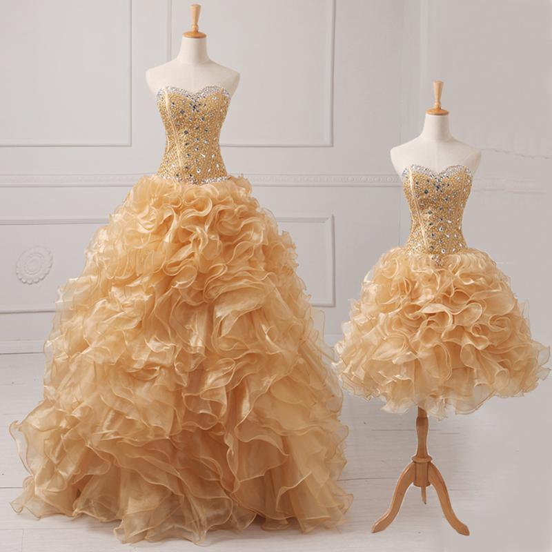 2015 New design beaded stones sweetheart dark champagne two piece quinceanera dresses short dress with floor length overlay(China (Mainland))