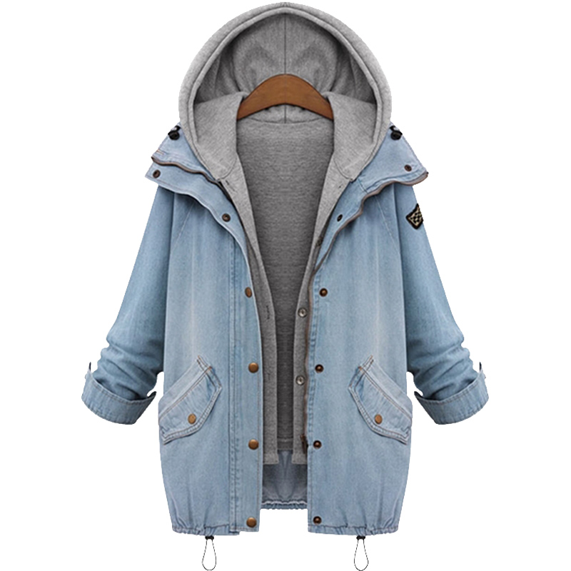 European style New 2015 Spring Fashion Two Piece Set Women Denim Jacket Casual Hooded Jeans Jackets Top quality coats Plus Size(China (Mainland))