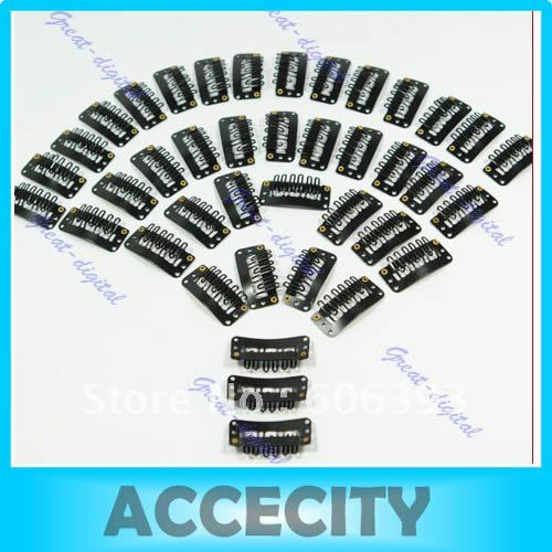 Гаджет  Free Shipping 150pcs/lot Clips/snap for Hair Extensions/wig/weft 32mm Black None Волосы и аксессуары