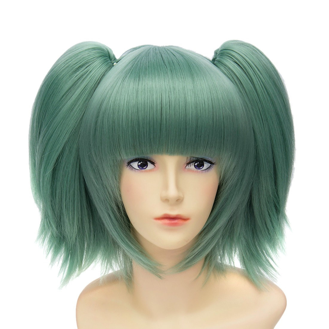 Women Green Bangs Double Side Braid Short Straight Cosplay Anime Costume Wigs<br><br>Aliexpress