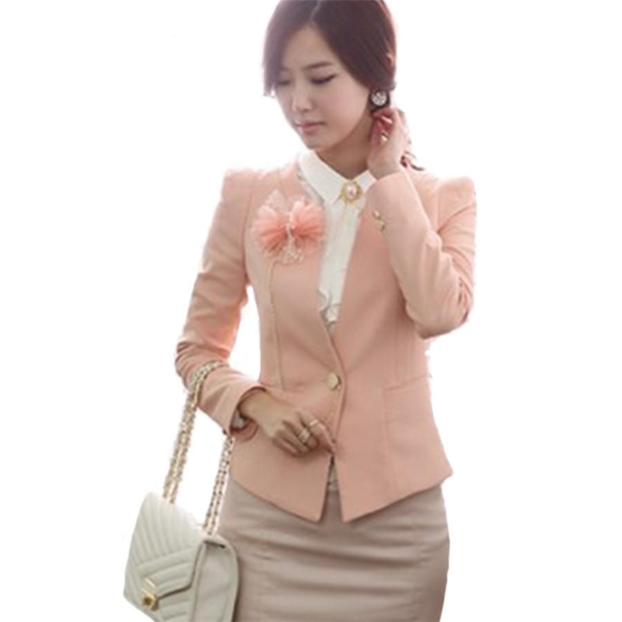 Women Casual Blazer Coat 2015 Fashion Office Lady Blazer XL,XXL,XXXL Size Pink Slim Female Outerwear Women'S Suits Blazers(China (Mainland))