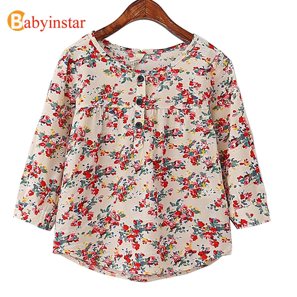 2016 Fashion Spring Girls Dress Kids Clothes Cute Floral Long Sleeve Dresses Child Clothing Costume Top Quality Baby Girl Dress(China (Mainland))
