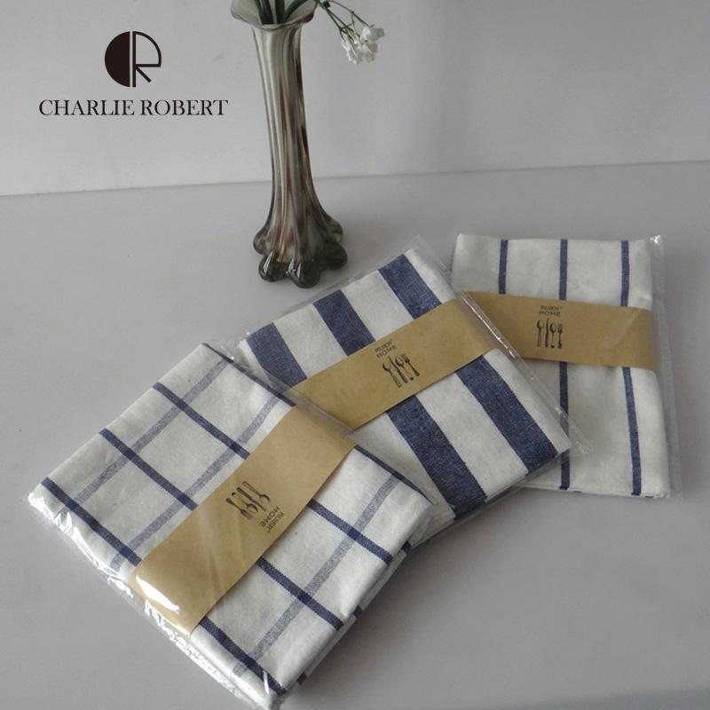 2016 New Blue Plaid Napkins Tea Towel Cotton Cloth Folding Table Napkins Simple Style Mediterranean guardanapo de tecido(China (Mainland))