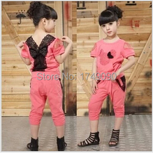 new 2015 Minnie suit baby girl clothes set,girls clothing set,sport suit,lace,summer,T-shirt + pants set(China (Mainland))