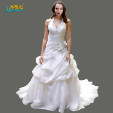 Plus Size Charming Chiffon Halter Wedding Dresses with Appliques & Crytal Tiered Wedding Dresses Fashion A-Line Wedding Dresses(China (Mainland))