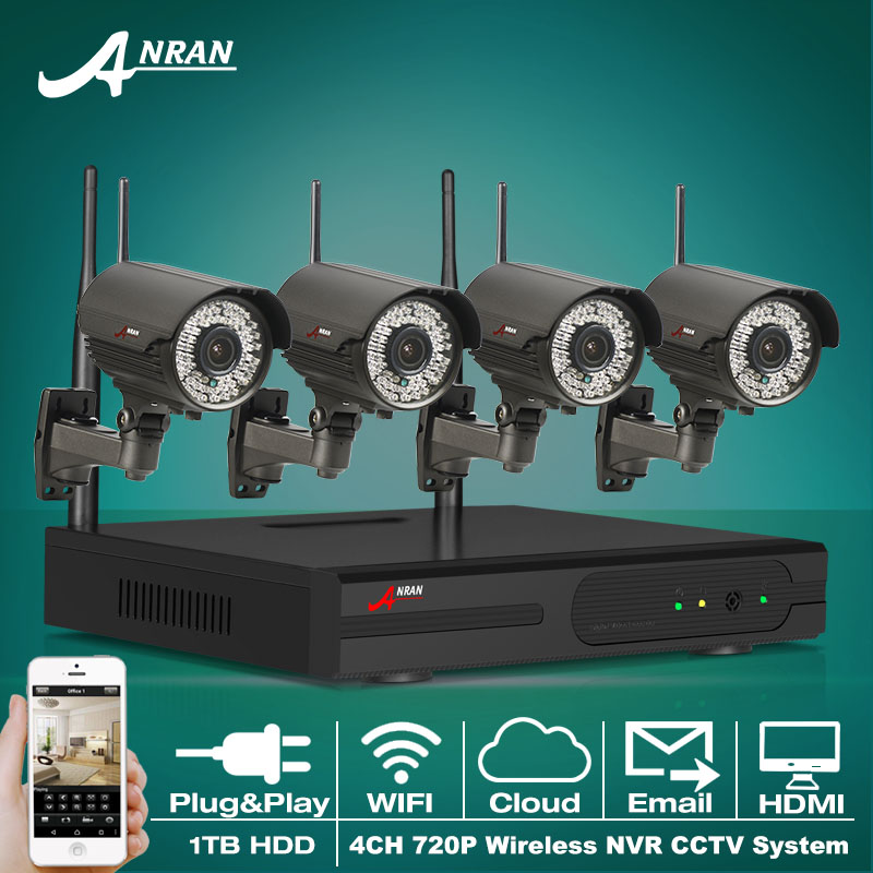 1TB HDD 4CH NVR Kit CCTV System Plug And Play 720P HD H.264 Outdoor IR Varifocal 2.8mm-12mm Home Security WIFI IP Camera(China (Mainland))