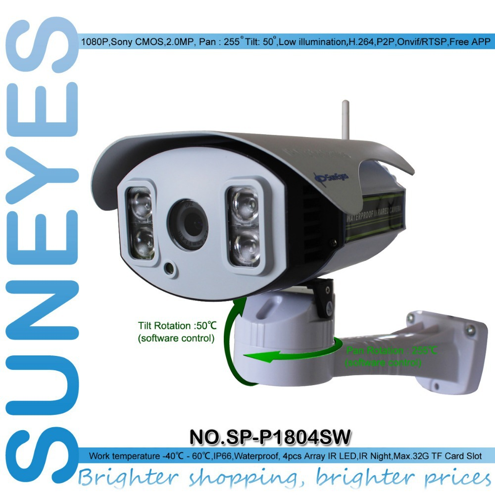 SunEyes SP-P1804SW ONVIF IP Camera Wireless Outdoor 1080P Pan/Tilt Rotation 2.0MP Full HD with TF Card Slot Array IR Night 100M(China (Mainland))