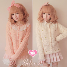 Buy Princess sweet lolita sweater BOBON 21 Autumn winter gentlewoman pink white black small flower lace bow plaid cardigan t0913 for $29.80 in AliExpress store