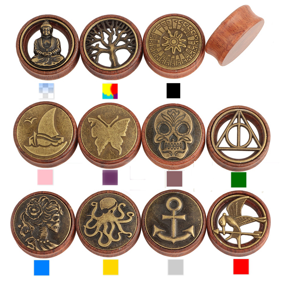 Pair Tree Of Life Different Logos Saddle Fit Ear Plug Wood Flesh Tunnel Organic Body Ear Expander Body Piercing Jewelry(China (Mainland))