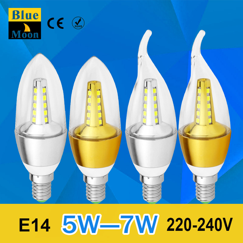 2016 new led candle light smd 2835 5w 7w E14 AC 220v energy saving bulb warm cold white lamps led lighting tube for Chandelier(China (Mainland))