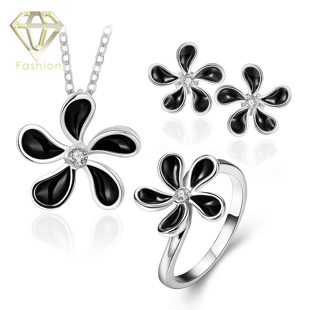 Buy Jewelry Sets Online Trendy 18K/Rose/White Gold Plated Black Flower Inlaid CZ Diamond Pendant Necklace + Earrings + Ring(China (Mainland))