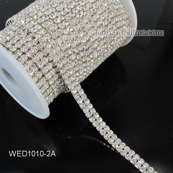 5yard 2A Row Grade Wedding Decoration Crystal Rhinestone Cup Chain Trim Cake Ribbon SS16 Garment Sewing Accessories(China (Mainland))