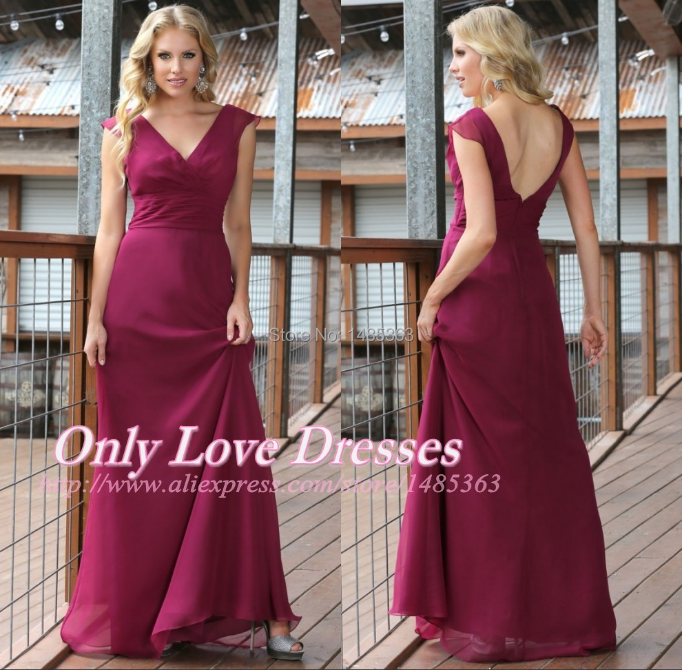 Newest Designing V Neck Chiffon Formal Party Gowns Long Maroon Bridesmaid Dresses 2015 Weddings(China (Mainland))