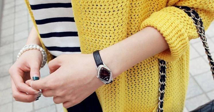 Юлий 5 Цветов Леди Смотреть Япония Кварцевых Часов Лучший женская Мода Платье Кожаный Браслет CZ Горный Хрусталь Подарочная Коробка 660
