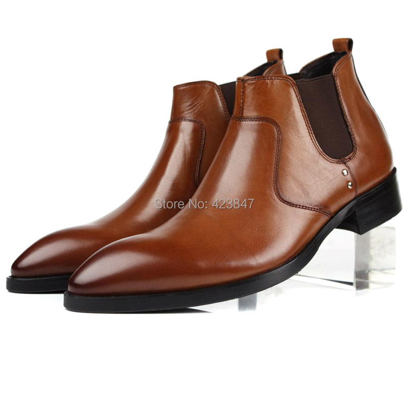 Free shipping 2014 spring and autumn fashion male head layer cowhide pointed sleeve man personality men's leather boots