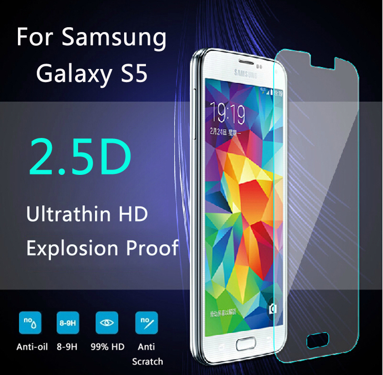 1PCS 0.26mm Premium Tempered Glass For Samsung Galaxy S5 i9600 Screen Protector Toughened Protective Film For Samsung Galaxy