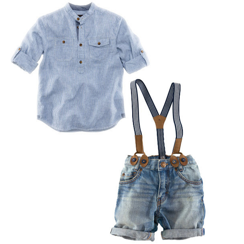 Boys Clothes Long Sleeve Shirt Bibi Pants Kids Clothes Boys Set 3pcs Children Set Boys Clothes Fashion Long Denim Pants Jeans