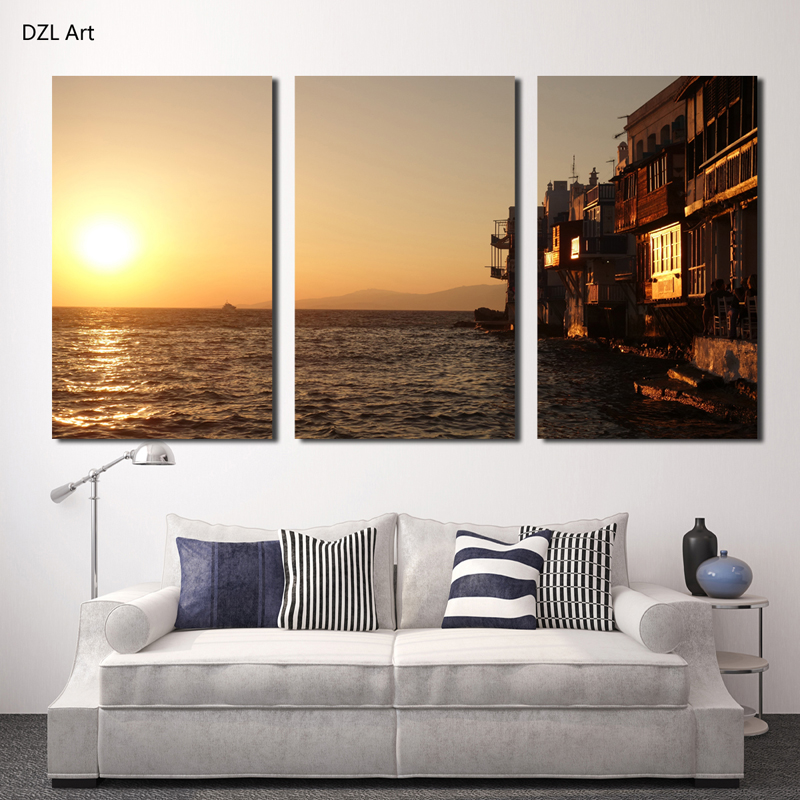 Buy 3 panels hot sell beautiful seaview room modern home wall decor painting - Home decor stores mn paint ...